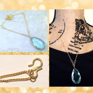 Blue Topaz Pendant Gold Chain Vintage Necklace